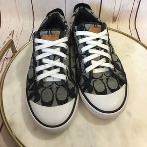 COACH Barrett Sneakers 7.5 Black Canvas Leather